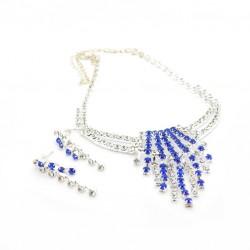 Štrasová souprava - modrá s krystalem