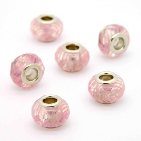 Velkodírové korálky s kovovým středem - 14/9 mm - 07701 - krystal s růžovými proužky